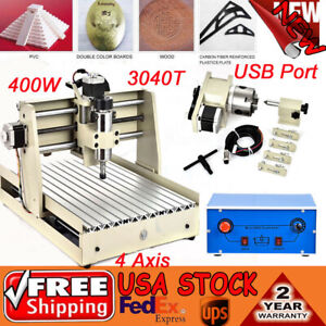 400w Usb 4axis Cnc 3040 Router Engraving Machine Engraver 3d Carving Woodworking
