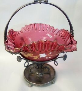 Beautiful Victorian Hand Enameled Ruby Red Glass Reed Barton Bride S Basket