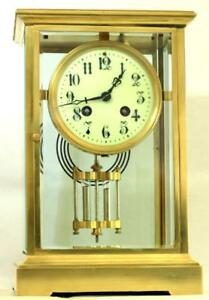 Japy Freres 8 Day Crystal Regulator Four Glass Mantle Clock Harris