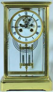Tiffany Co Antique French 8 Day Crystal Regulator Open Escapement Mantle Clock