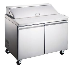 60 2 Door Commercial Refrigerated Sandwich Salad Prep Table Etl nsf Approved