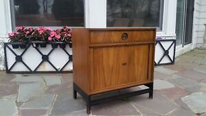 Vintage Modernist Baker Furniture Solid Mahogany Side Table Cabinet
