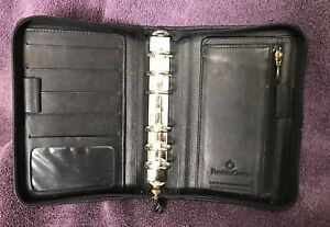 Franklin Covey Black Full grain Nappa Leather Pocket Zip Around Planner Usa