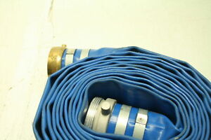 Bisupply Lay Flat Hose 3 In X 50 Ft Flat Discharge Hose Aluminum Pin Lugs Pvc