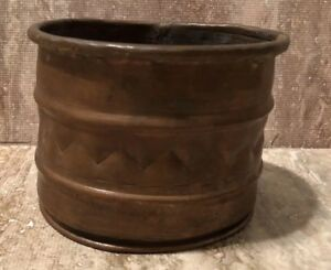 1800s Hand Hammered Turkish 7 X6 5 Antique Copper Boiler Planter Cauldron Pot