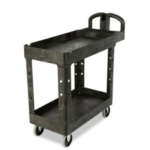 Rubbermaid Commercial 450088bk Heavy duty 2 shelf Utility Cart Black New