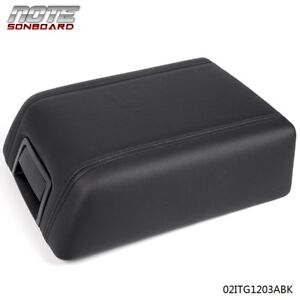 For Ford F 150 2004 2008 Black Leather Center Console Arm Rest Lid Cover Pad