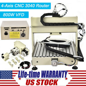 4 Axis Cnc 3040 Router Engraver 800w Parallel Engraving Drilling Milling Machine