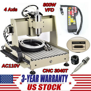 4 Axis Cnc 3040 Router Engraver 800w Engraving Milling Machine Controller New