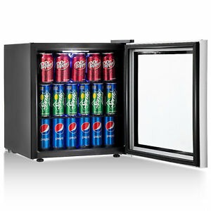 Gymax 60 Can Beverage Refrigerator Beer Wine Soda Drink Cooler Mini Fridge Glass
