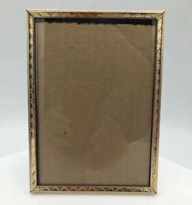 Vintage Ornate Metal Picture Frame 5x7 Photo W Glass Easel Back Shabby Chic