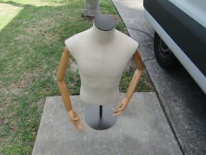 Mannequin Male Torso Poseable Arms And Fingers With Stand Great Shape