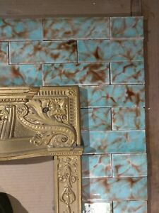 Complete Set Vintage Victorian Antique Fireplace Tile Mantle Tiles Aet Seafoam