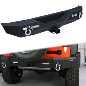 For 2007 2017 Jeep Wrangler Jk Rear Bumper With Led Lights Hitch Receiver