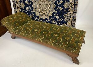 Antique Victorian Fainting Sofa Oak Carved Gorgeous