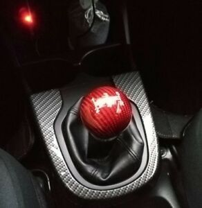 Racing Car Gear Shift Knob Shifter Lever Round Shape Carbon Fiber Red Universal