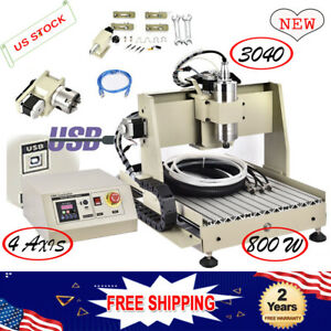 4 Axis 800w Usb Cnc Router Engraver 3040 Drill Wood Metal Water cooled 3d Cutter