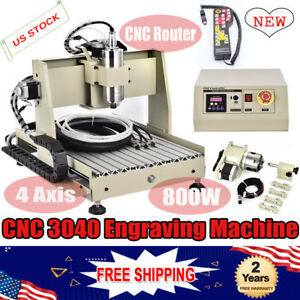 4 Axis Cnc 3040 Router Engraver 800w Machine Drill 3d Cutter W Remote Control
