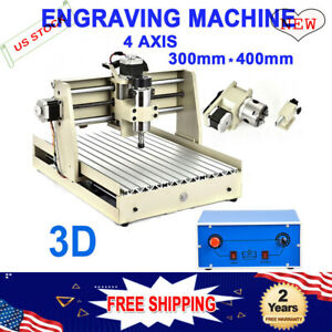 4 Axis 400w Cnc 3040 Router Engraving Machine Mill Parallel Port Diy 3d Cutter