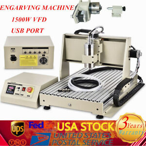 4axis Usb Cnc Router 6040 Engraver Machine Mill Metal Woodworking 3d Carve 1500w
