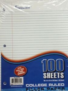Filler Paper College Ruled 100 Sheet Case Of 36