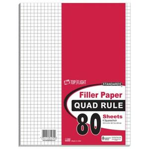80 Count Quad Ruled Filler Paper 10 5 X 8 Case Of 12