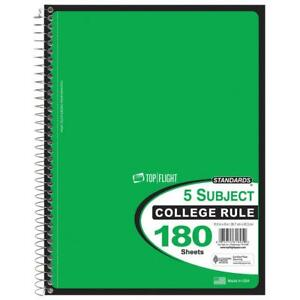 180 Sheet College Ruled 5 Subject Notebook Case Of 12