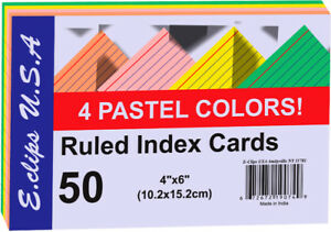 Index Cards Pastel Asst Colors 4x6 50 Ct Case Of 60