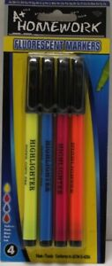 Fluorescent Markers 4 Pack Thin Tip asst colors Case Of 48
