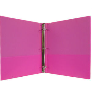 1 Hard Cover pvc Free 3 ring Binder Neon Pink Case Of 24
