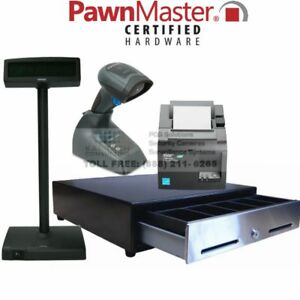 Pawnmaster Pos Starter Kit Printer Cash Drawer Id Barcode Scanner Pole Display