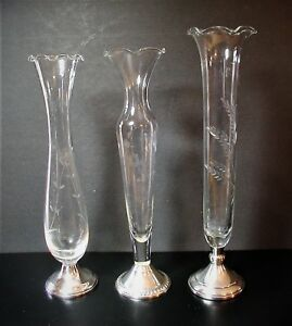 Towle Duchin Web Sterling Silver Etched Glass Bud Vases Set Of Three