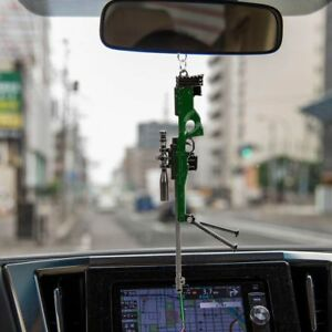 Car Rear View Mirror Hanging Decoration Metal Toy Gun Pendant Auto Weapon Decor