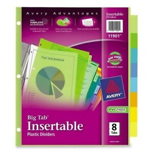 Avery Consumer Products Insertable Tab Dividers Plastic 8 tab Multi Case Of 11