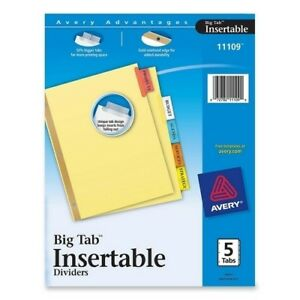 Avery Consumer Prod Big Tab Insertable Dividers 11x8 1 2 5 tabbuff multi cs 32