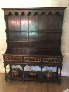 English Walnut Banded Inlaid Welsh Cupboard Buffet Open Hutch Server Board Bylaw