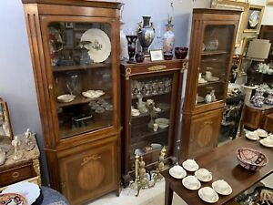 Pair French Two Part Inlaid Corner Cabinet Cupboard Hutch
