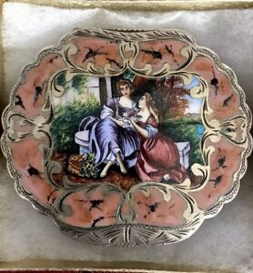 Antique Italian Sterling Silver Enamel Compact Powder Case