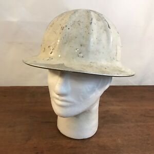 Vintage Distressed Superlite Fibre Metal Aluminum Hard Hat Construction Helmet