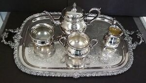 Wilcox International Silver Co Silverplate 5 Piece Coffee Tea Set N7060 Antique