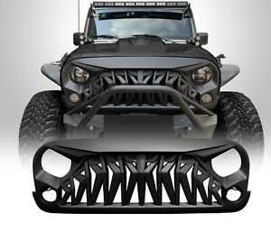 Front Matte Black Shark Grille Grill Grid For Jeep Wrangler 07 18 Jk Jku Abs