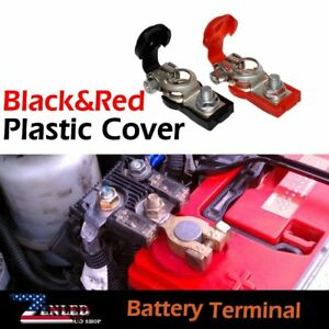 2set Of Cars Battery Terminals W Red Black Protection Device Plastic Cover