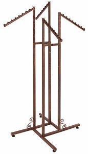 4 way Clothing Rack With Slant Arms boutique Cobblestone Heavy Duty Rack