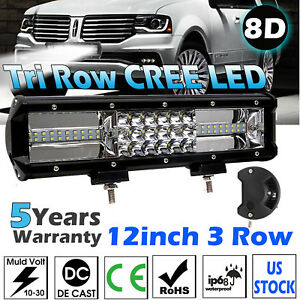 New 12 Inch Quad row Led Work Light Bar Combo Driving Lamp Car Truck Boat Ford