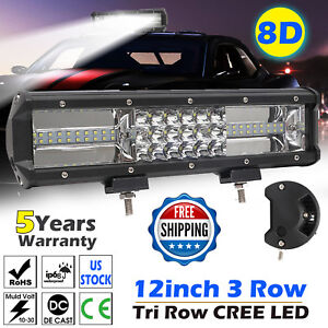 12 Inch Quad row Led Work Light Bar Combo Offroad Driving Lamp Car Trucks Boat