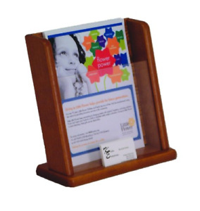 Wooden Mallet Countertop Literature Display With Business Card Pocket Medium