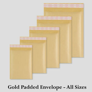 All Sizes Gold Padded Bubble 5 10 25 50 100 500 Envelopes Best Quality