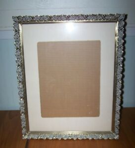 Huge Vtg Art Deco Scroll Gold Meal W White Wash Matted Picture Frame 18 X 22