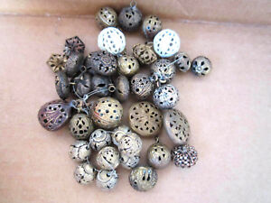 Antique Cricket Cage Buttons Assorted Sizes Shapes Lot Of 38