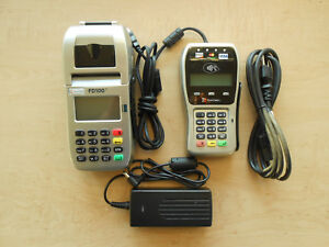 First Data Credit Card Terminal Fd100ti With Pin Pad Fd 35 And Power Supply